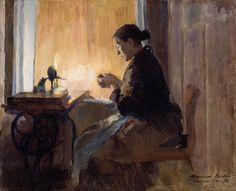 By Lamp Light Painting by Harriet Backer Lund, Oslo, Female Painters, Google Art Project, Light Painting, Community Art, Figure Painting, Contemporary Paintings, Art Google