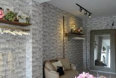 White faux #brickwallpaper accent wall Textured Brick Wallpaper, Brick Design, Faux Brick, Backsplash, Coffee Cups, Oversized Mirror, Room, Inspiration, Home Decor