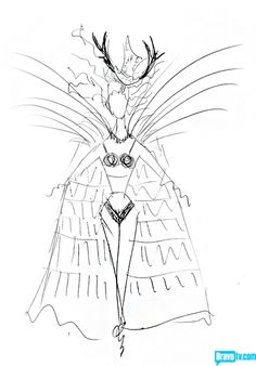 Chris March's sketch for Susanne's feather cape, from Episode 6 of Bravo's 'Mad Fashion'