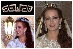 Princess Lalla Salma of Morocco, earrings & Meander/Greek Key pattern tiara, at her wedding. Blog:  A Tiara a Day