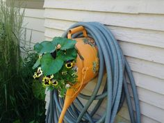 Old watering can repurposed as hose holder/planter.