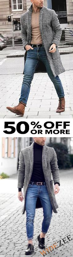 Details: Size Bust Length Shoulder Sleeve cm inch cm inch cm inch cm inch M L 29 Mens Boots Fashion, Fashion Coat, Classic Fashion Looks, Nigerian Men Fashion, Combat Boots Style, Fancy Skirts, Langer Mantel, Evolution Of Fashion, Long Winter Coats