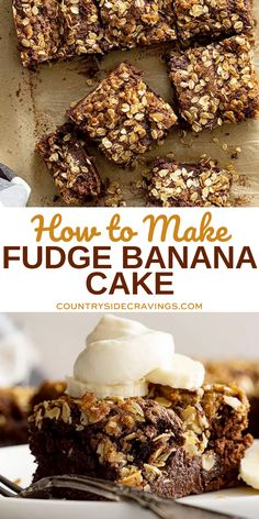 Use up all your ripe bananas and make this delicious Fudge Banana Cake. Use a cake mix or make it from scratch - both instructions included! #bananacake Chocolate Pie Recipes, Apple Pie Recipes, Donut Recipes, Tart Recipes, Best Dessert Recipes, Cupcake Recipes, Easy Desserts, Muffin Recipes, Lemon Pie Recipe