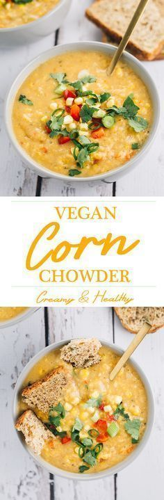 Creamy Vegan Corn Chowder - a quick, simple and healthy soup made with corn, potatoes, celery and red pepper.