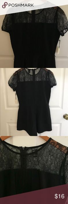 Classic Black Jumpsuit A classic, timeless jumpsuit. Including pockets & a lace detailing around then neck line. In great condition perfect for a Christmas party, New Years bash, or a night on the town!  • Never Worn • One piece  • Double Lined  • Shorts like bottom, including Pockets • Detailed cinching/form fitting Forever 21 Tops Blouses