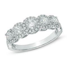 1 CT. T.W. Certified Canadian Diamond Five Stone Frame Anniversary Band in 14K White Gold (H-I/I2) $1919