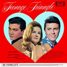 """Teenage Triangle"" (1963, Colpix) by Paul Peterson, Shelley Fabares and James Darren.  Contains recent hit singles by each of the three including ""She Can't Find Her Keys,"" ""Johnny Angel"" and ""Goodbye Cruel World."""