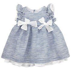 Pure linen dress with blue stripes. Fine cotton lining. Round neckline. Short flutter sleevdes. Buttons at the back. Machine wash at 30°C. - $AU 159,83