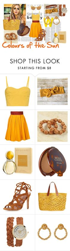 """Colors of the Sun"" by m-illumino-di-glamour ❤ liked on Polyvore featuring Versace, Tomas Maier, Paule Ka, NOVICA, Bulgari, Estée Lauder, Joie, Mar y Sol, Aéropostale and Tory Burch"
