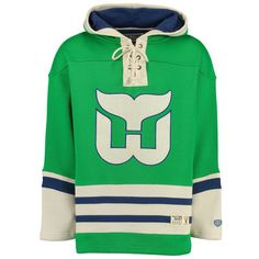 1604def5d1e Men's Hartford Whalers Old Time Hockey Green Lacer Heavyweight Pullover  Hoodie
