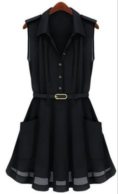 Black Sleeveless Pleated Flare Belted Dress