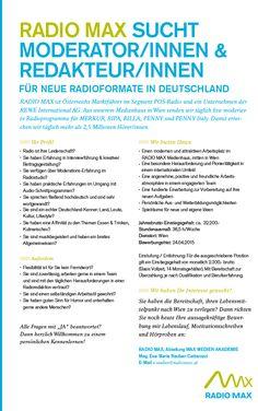 RADIO MAX sucht Moderator/innen & Redakteur/innen für neue Radioformate in Deutschland | radioWOCHE
