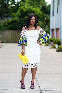 White Dress with Ankara Sleeves // Ankara Detail // African Prints // Ankara Styles // Ankara Dress with Bell Sleeves Lace Dress Styles, African Lace Dresses, Latest African Fashion Dresses, African Dresses For Women, African Attire, African Wear, Ankara Fashion, African Style, African Women