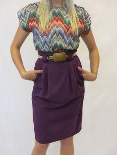 Vintage Skirt / Purple Pencil Skirt / High by littlebrooklynstpete, $26.00