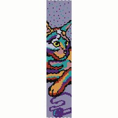 Abstract Colorful Cat Peyote Bead Pattern, Bracelet Cuff, Bookmark, Seed Beading Pattern Miyuki Delica Size 11 Beads - PDF Instant Download