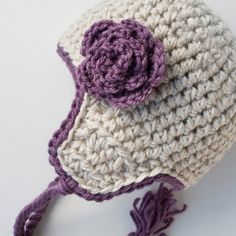 Little Girls Aviator Hat Toddler Girls Earflap Hat with flower
