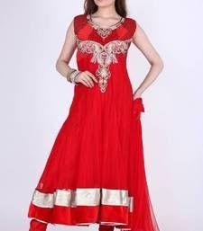 Buy Rose-madder Red Net Embroidered Festival Ready Made Anarkali Kameez readymade-suit online