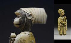 "Rarity 19th century! Edo Japanese Antique Netsuke. ""Aristocrat Monkey"""