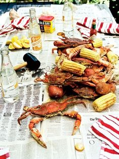 Favorite summer meal- crabs, corn and beer- why can't you get good seafood up here?