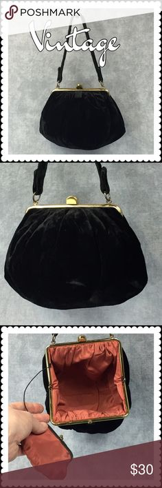 Vintage Black Velvet Purse  Vintage Black Velvet Purse  Salmon colored silk interior, original attached coin purse, gold clasp closure. In excellent condition and a beautiful addition to an evening look. Stain, odor and snag-free. Vintage Bags Mini Bags