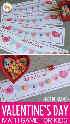 games Here is a fun Valentine's Day game for kids. Use this free printable roll and cover game your Valentine's Day theme math centers of work stations. Perfect for your preschool, pre-k, and k Valentines Games, Valentine Theme, Valentines Day Activities, Valentines Crafts For Kindergarten, Valentine Preschool Party, Valentinstag Party, Math Games For Kids, Dice Games, In Kindergarten