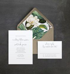 Minimal Script Wedding Invitation Suite | Vintage Floral Liner | Simple Wedding Invitation | Handwriting | Script Typeface