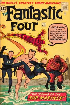 """Fantastic Four """"The Coming of. Sub-Mariner"""" On Sale: February 1962 Writer: Stan Lee Penciller: Jack Kirby Inker: Sol Brodsky Editor: Stan Lee Visit The Merry Marvel Marketing Method to learn more! Marvel Comics, Marvel Comic Books, Comic Book Heroes, Comic Books Art, Marvel Characters, Hulk Comic, Star Comics, Dc Heroes, Marvel Dc"""