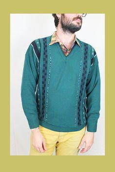 Jersey vintage de pico en tonos verdes. 80's. Estampado lateral. Hecho en Inglaterra. Acrílico y lana.