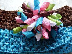 HeadBand And Korker Hair Bow Set/Baby Shower Gift/Birthday Gift/HandMade Bows $10.99