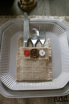 flatware holder  LOVE THIS!  Match the buttons to your decor or use vintage...