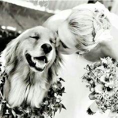 Bride and her first best friend. wedding day