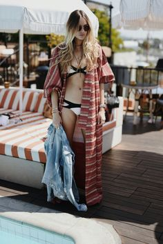 21 Genius Summer 2016 Outfit Ideas to Steal: A Shoppable Guide | Agent Provocateur Mazzy Bikini Top, $200; at Agent Provocateur styled with a boho caftan robe