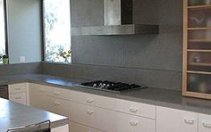 Concrete Kitchen Counter Tops in Light Gray | Ernsdorf Design