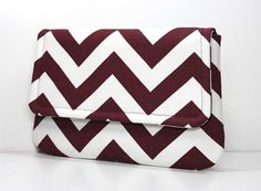 Items similar to Burgundy or Maroon and White Chevron Clutch with 2 Pockets - Made to Order on Etsy Bulldog Game, Aggie Game, Chevron, Cute Handbags, Cute Bags, Color Pop, Hot Pink, Rush Week, Burgundy