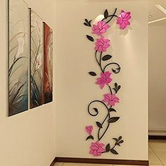 Mkono Stereo Acrylic Crystal Wall Sticker Home Decal Art Mural Decoration Pink flower vine M x *** You can find more details by visiting the image link. Large Wall Stickers, Butterfly Wall Stickers, Wall Stickers Home Decor, Large Wall Art, Wall Painting Decor, Diy Wall Art, Diy Wall Decor, Diy Art, Wall Decorations