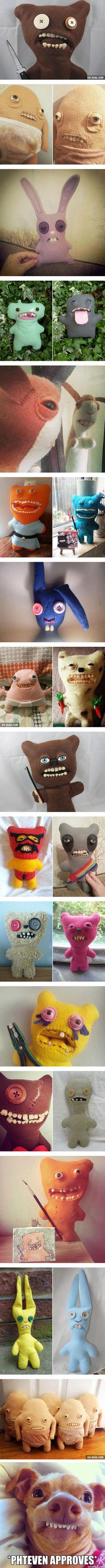 "Meet Fugglers: Stuffed Toys With ""Human Teeth"" (By Mrs McGettrick)   Disclosure: Not really human teeth just made to look like human teeth   Creepy Art   Weird"