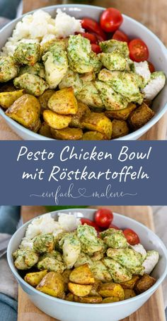 Super easy & really tasty - the recipe for the pesto chicken . Super easy & really tasty – the recipe for the Pesto Chicken Bowl is perfect for pr - Easy Dinner Recipes, Lunch Recipes, Salad Recipes, Easy Meals, Easy Dinners For Two, Pesto Chicken, Chicken Spaghetti, Evening Meals, Gourmet