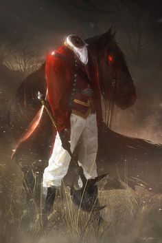 """The Headless Horseman – horror concept by Bastien Grivet "" Dark Fantasy, Fantasy Art, Arte Horror, Horror Art, Film Tim Burton, Legend Of Sleepy Hollow, Illustrations, Ghost Rider, The Villain"