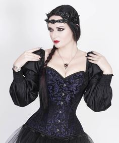 Rosaline Gothic Purple Corset with Attached Sleeve – corsetdeal.com
