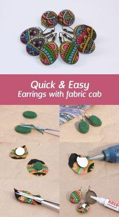 How to make earrings with fabric cabochon Making earrings f Fabric Earrings, Fabric Beads, Diy Earrings, Bridal Jewelry, Beaded Jewelry, Handmade Jewelry, Jewellery, Textile Jewelry, Fabric Jewelry