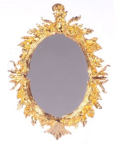 """Dollhouse Miniature 24K Gold Plated Antique Oval Mirror 2¾""""T x 21/8""""W 1:12 Scale #FalconMiniatures"""