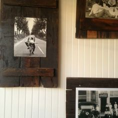 Rustic picture frames.  Reclaimed wood.  No link, but could be an easy DIY project.  Works well with black and white photos (sepia would work great, too).