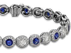 Sapphire And Diamond Halo Bracelet - in Platinum CTW) - from Ritani Sapphire Jewelry, Sapphire Gemstone, Diamond Jewelry, Diamond Earrings, Sapphire Bracelet, Blue Sapphire, Fashion Rings, Fashion Jewelry, Cushion Cut Diamonds