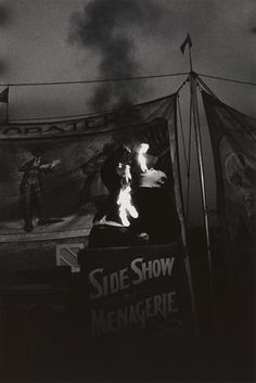 Fire Eater at a carnival, Palisades Park, NJ, 1957