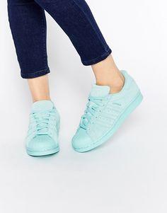 Image 1 of adidas Originals Superstar RP Tonal Aqua Sneakers Adidas Superstar, Adidas Shoes Women, Adidas Sneakers, Trainers Adidas, Green Sneakers, Shoes Sneakers, Aqua Shoes, Green Shoes, Adidas Women