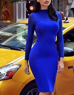 Womens Stylish Mesh Sleeve High Neck Solid Tight Midi Dress