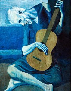 The Old Guitarist-Pablo Picasso-Blue Period-Spanish-Depicts an old, blind, haggard man with threadbare clothing weakly hunched over his guitar. Picasso used very somber colors during this period. Kunst Picasso, Art Picasso, Picasso Blue, Picasso Paintings, Picasso Images, Art Paintings, Giacometti, Georges Braque, Kunst Poster