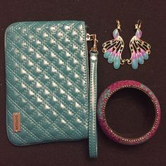 Express Wristlet, Bracelet & Earrings Bundle Quilted wristlet from Express. Purple and Turquoise Bangle, and Gold, purple and turquoise earrings, 1 tiny stone missing, but not visible when wearing. (Sunglasses not included). Great bundle to accessorize your outfit! Express Bags Clutches & Wristlets