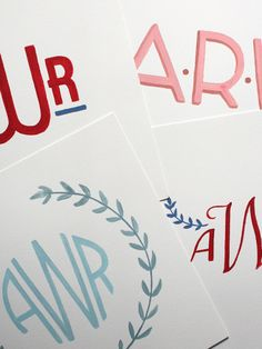 Old Letters // Custom Hand-Painted Monograms on 100% Cotton paper
