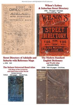Wilson's Sydney & Suburban Street Directory Street Directory of Adelaide and Suburbs The Modern Standard English Dictionary and World Atlas The Nelson Universal Hand Atlas
